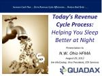 Today's Revenue Cycle Process:   Helping You Sleep Better at  Night