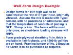 Wall Form Design Example