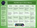 HS/MS April 2012 Menu
