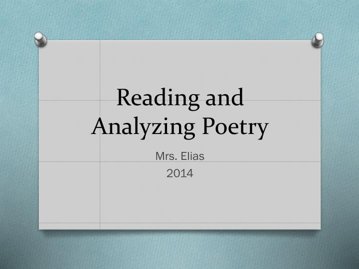 reading and analyzing poetry n.