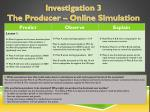 Investigation 3  The Producer – Online Simulation