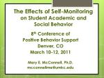 The Effects of Self-Monitoring on Student Academic and Social Behavior