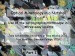 Optical Mineralogy in a Nutshell