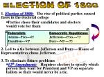 1. Election of 1800:   The rise of political parties caused flaws in the electoral college