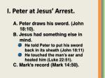 I. Peter at Jesus' Arrest.