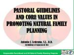 PASTORAL GUIDELINES AND CORE VALUES IN PROMOTING NATURAL FAMILY PLANNING
