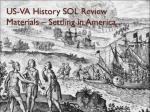 US-VA History SOL Review Materials – Settling in America