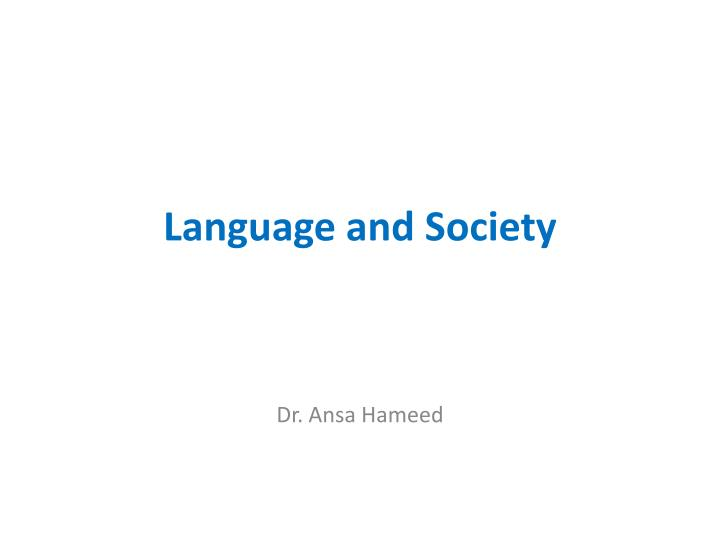 language and society n.