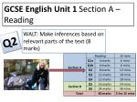 GCSE English Unit 1  Section A – Reading
