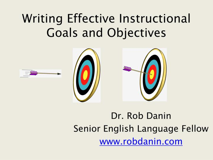 writing effective instructional goals and objectives n.