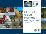 Introduction to LTER Information Management