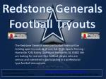 Redstone  Generals Football Tryouts