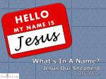 What's In A Name? Jesus Our Shepherd Session Five