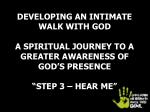 INSIGHTS INTO AN INTIMATE RELATIONSHIP WITH GOD