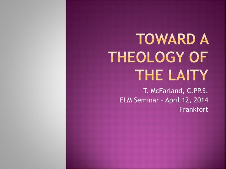 toward a theology of the laity n.