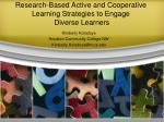 Research-Based Active and Cooperative Learning Strategies to Engage Diverse Learners