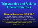 Triglycerides and Risk for Atherothrombosis