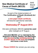 New Medical Certificate of Cause of Death (MCCD)