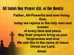 All Saints Day Prayer (Lit. of the Hours)