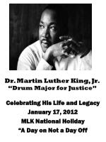 "Dr. Martin Luther King, Jr. ""Drum Major for Justice"""