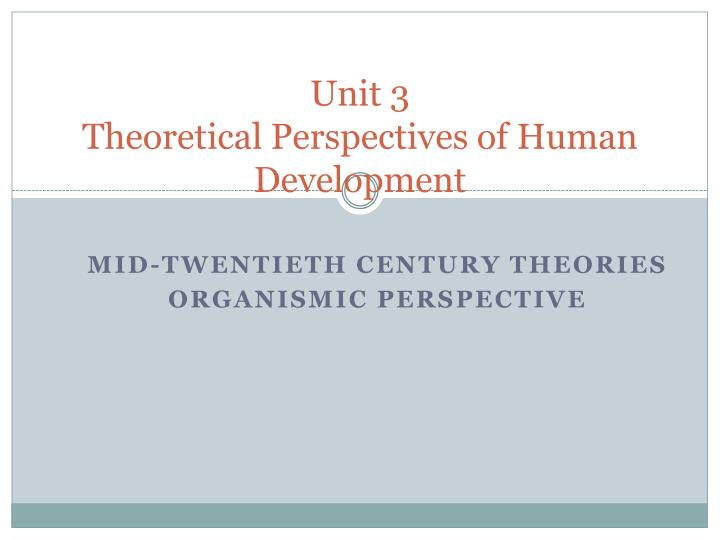 unit 3 theoretical perspectives of human development n.