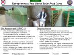 Entrepreneurs Test Direct Solar Fruit Dryer