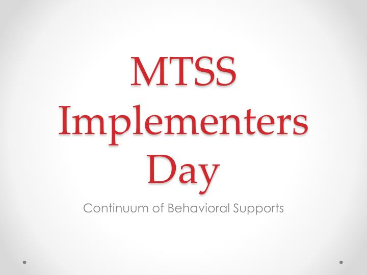 mtss implementers day n.