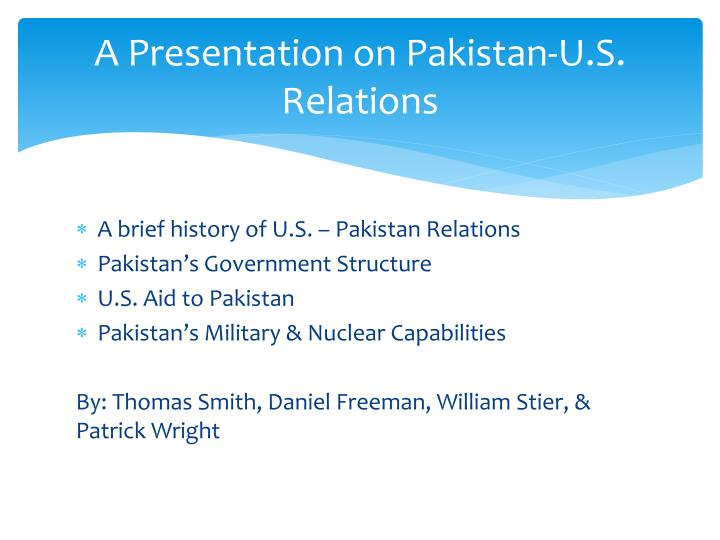 a presentation on pakistan u s relations n.