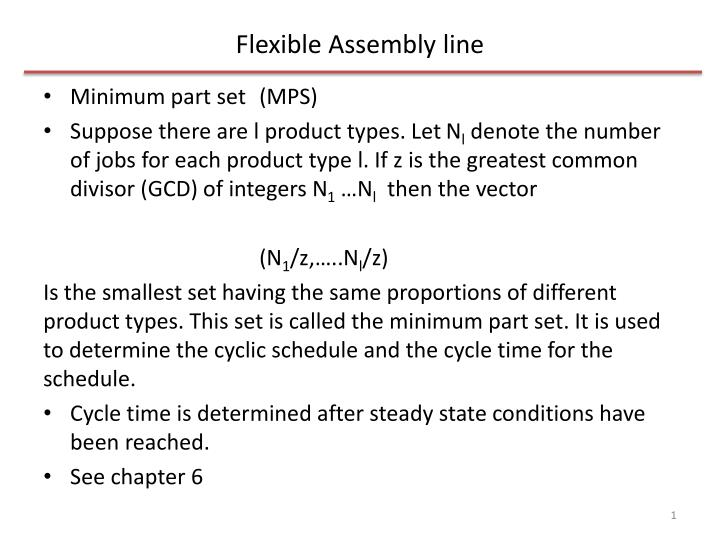 flexible assembly line n.