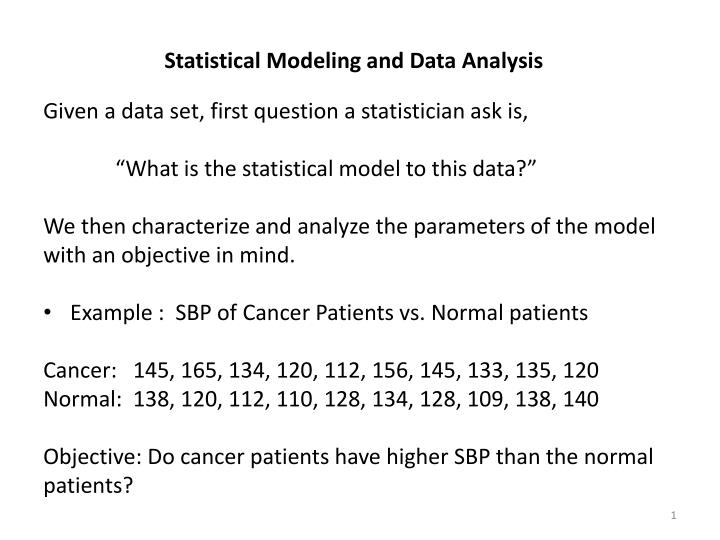 PPT - Statistical Modeling and Data Analysis Given a data