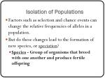 Isolation of Populations