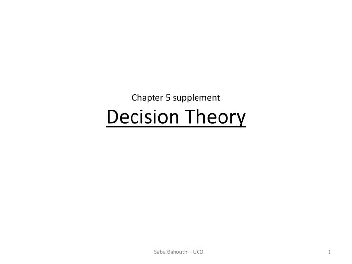 chapter 5 supplement decision theory n.