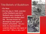 Title:Beliefs  of Buddhism