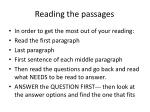 Reading the passages