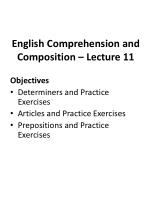 English Comprehension and Composition – Lecture 11