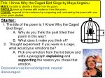 Title: I Know Why the Caged Bird Sings by Maya Angelou