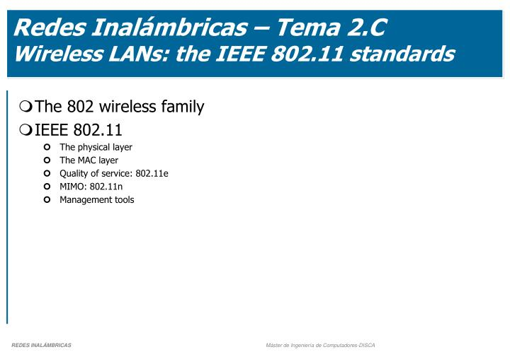 redes inal mbricas tema 2 c wireless lans the ieee 802 11 standards n.