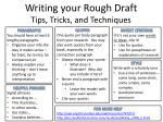 Writing your Rough Draft Tips, Tricks, and Techniques