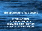 INTRODUCTION TO ICD 9 CODING