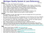 Michigan Quality System & Lean References