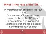 What is the role of the STF…. In implementation  of each of the Four Pillars