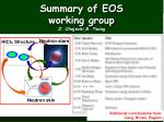 Summary of EOS  working group Z.  Chajecki,B . Tsang