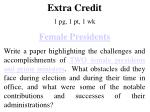 Extra Credit 1 pg , 1 pt , 1 wk Female Presidents