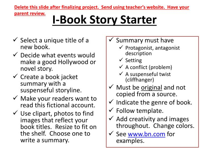 PPT - I-Book Story Starter PowerPoint Presentation - ID:2077315