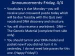 Announcements-Friday, 4/4