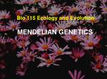 Bio 115 Ecology and Evolution