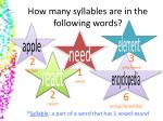 How many syllables are in the following words?