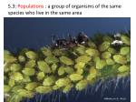 5.3: Populations : a group of organisms of the same species who live in the same area