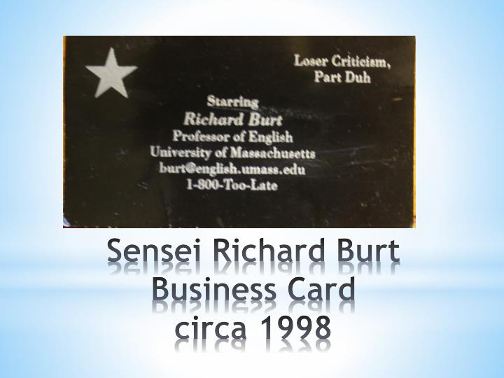 sensei richard burt business card circa 1998 n.