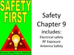 Safety Chapter 9 includes: Electrical safety RF Exposure Antenna Safety